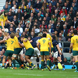LONDON, ENGLAND - OCTOBER 18: Scott Fardy of Australia in the line out during the Rugby World Cup Quarter Final match between Australia v Scotland at Twickenham Stadium on October 18, 2015 in London, England. (Photo by Steve Haag)
