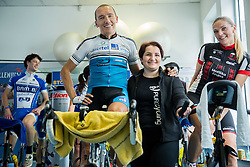 Marko Baloh, Slovenian ultramarathon rider with his wife Irma during his charity event of 24 hours of spinning for food for Organisation Anina zvezdica, on January 24, 2015 in SC Millenium, BTC, Ljubljana, Slovenia. Photo by Vid Ponikvar / Sportida