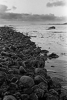 Svarte steiner i fj&oslash;ra p&aring; Kvalneset p&aring; Giske.<br /> Foto: Svein Ove Ekornesv&aring;g