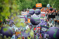 © Licensed to London News Pictures. 12/05/2018. LONDON, UK.  Thousands of people take part in a Trades Union Congress (TUC) march and rally, from Embankment to Hyde Park, calling for improved workers' pay and rights as well as improvement to pubic services.  Photo credit: Stephen Chung/LNP