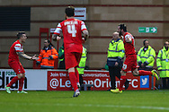 Chris Dagnall of Leyton Orient (right) celebrates scoring his team's second goal to make it 2-0 with Dean Cox (left) and Romain Vincelot (centre) after the Sky Bet League 1 match at the Matchroom Stadium, London<br /> Picture by David Horn/Focus Images Ltd +44 7545 970036<br /> 22/11/2014