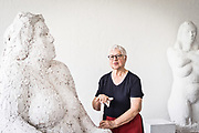 Frankfurt am Main  | 26 July 2017<br /> <br /> Sculptor Wanda Pratschke at her studio with two of her sculptures (Big Girls)<br /> <br /> photo &copy; peter-juelich.com