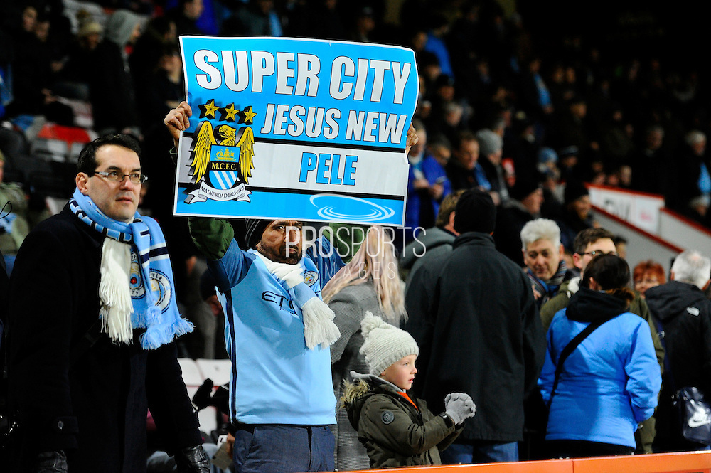 "Manchester City fan holding up a banner saying ""Super City Jesus New Pele"" during the Premier League match between Bournemouth and Manchester City at the Vitality Stadium, Bournemouth, England on 13 February 2017. Photo by Graham Hunt."