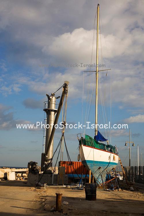 Israel, Tel Aviv-Jaffa, boats at dry dock at the Jaffa port.