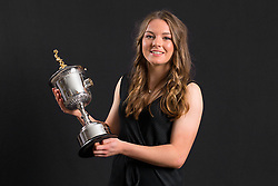 Lauren Hemp with the PFA Young Female Player Of The Year Award Trophy during the 2018 PFA Awards at the Grosvenor House Hotel, London