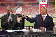 GLENDALE, AZ - JANUARY 8:  Eddie George points at Emmitt Smith while laughing on the set of the FOX Sports television pregame show rehearsal at the Ohio State Buckeyes game against the Florida Gators at the 2007 Tostitos BCS National Championship Game at the University of Phoenix Stadium on January 8, 2007 in Glendale, Arizona. The Gators defeated the Buckeyes 41-14. ©Paul Anthony Spinelli *** Local Caption *** Emmitt Smith;Eddie George