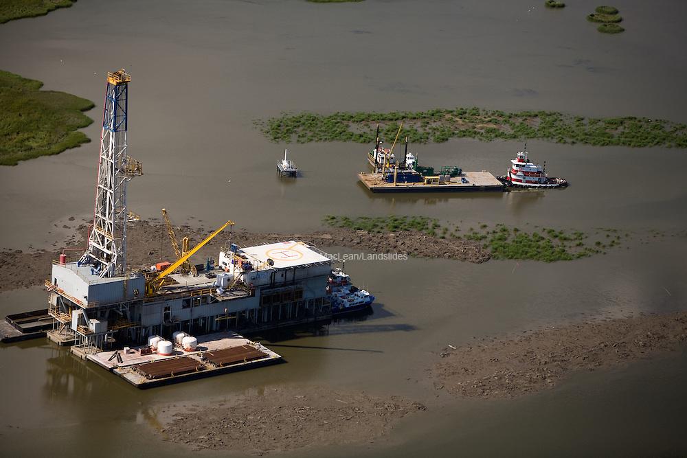 Oil rig in bayou of Louisiana