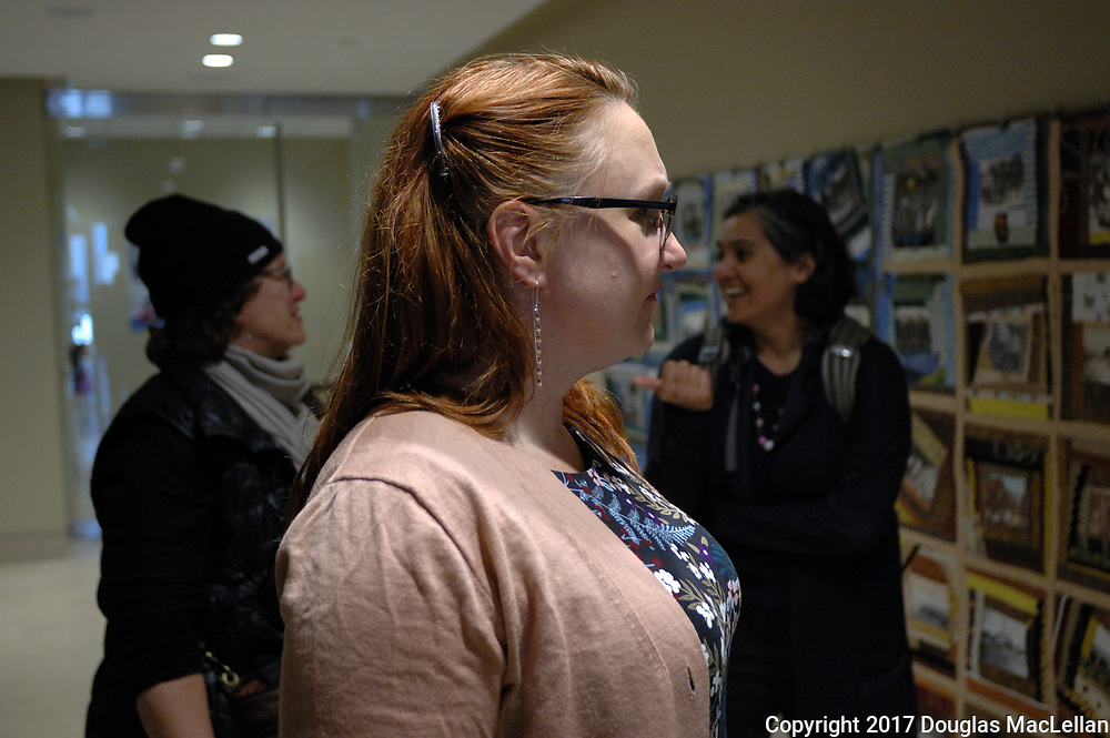 "CANADA, Windsor. May, 2017. ""Beyond Traditional: Women's Work"", opening reception, Art Gallerry of Windsor. Part of the MayWorks Windsor 2017 programming."