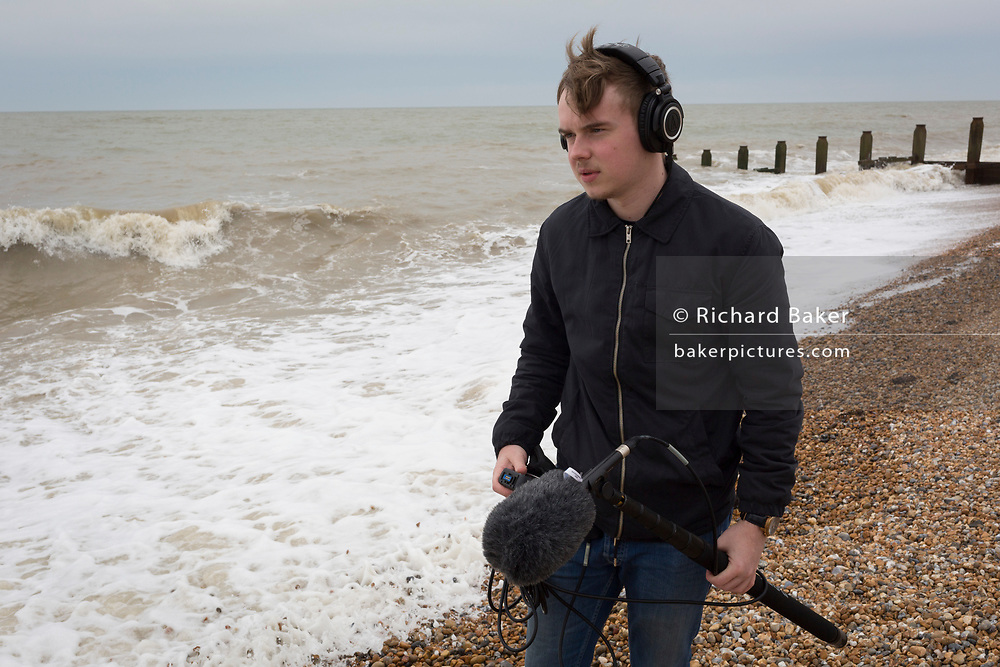 Film soundman student on location on 30th April 2017, at Winchelsea, England
