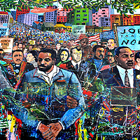 Martin Luther King Mural at MLK Visitor's Center in Atlanta, Georgia<br /> Numerous events in Martin Luther King&rsquo;s life are iconic to American history. Many of them are displayed on a 125 foot memorial mural called &ldquo;Dreams, Visions and Change&rdquo; in Atlanta, Georgia. The painting, by Louis Delsarte, shows several famous civil rights leaders and figures. The art is in the Peace Plaza near the MLK Visitors&rsquo; Center.