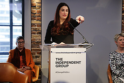 © Licensed to London News Pictures. 18/02/2019. London, UK. Former Labour MP Luciana Berger speaks at an event in Westminster, London. They have announced the formation of a new political party, The Independent Group, formed by breakaway Labour MPs who disagree with Labour Party action on Brexit. Photo credit: Rob Pinney/LNP
