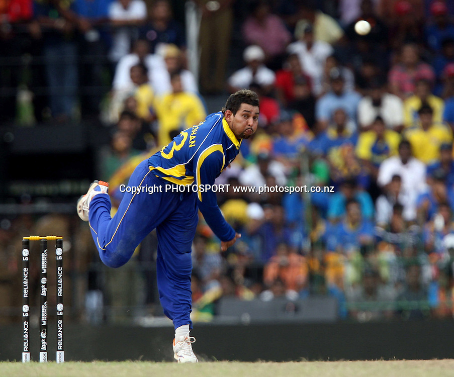 Sri Lankan bowler Tillakaratne Dilshan in bowling action New Zealand during ICC Cricket World Cup - 1st Semi-Final New Zealand vs Sri Lanka Played at R Premadasa Stadium, Colombo, 29 March 2011 - day/night (50-over match)