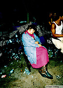 Woman sleeping in a club Ibiza 1999