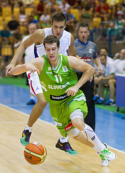 Bogdan Bogdanovic of Serbia vs Goran Dragic of Slovenia during friendly match between National teams of Slovenia and Serbia for Eurobasket 2013 on August 3, 2013 in Arena Zlatorog, Celje, Slovenia. Slovenia derated Serbia 67-52. (Photo by Vid Ponikvar / Sportida.com)