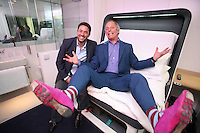 Launch of Yo!tel in Gatwick airport.Gerald Greene & Simon Woodroffe in a Yo!tel room.