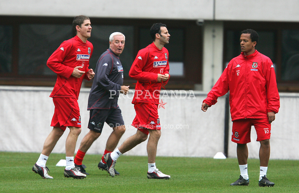 VIENNA, AUSTRIA - TUESDAY MARCH 29th 2005: Wales' xxxx during a training session at the Ernst Happel Stadium ahead of their World Cup Qualifying Group Six match against Austria. (Pic by David Rawcliffe/Propaganda)