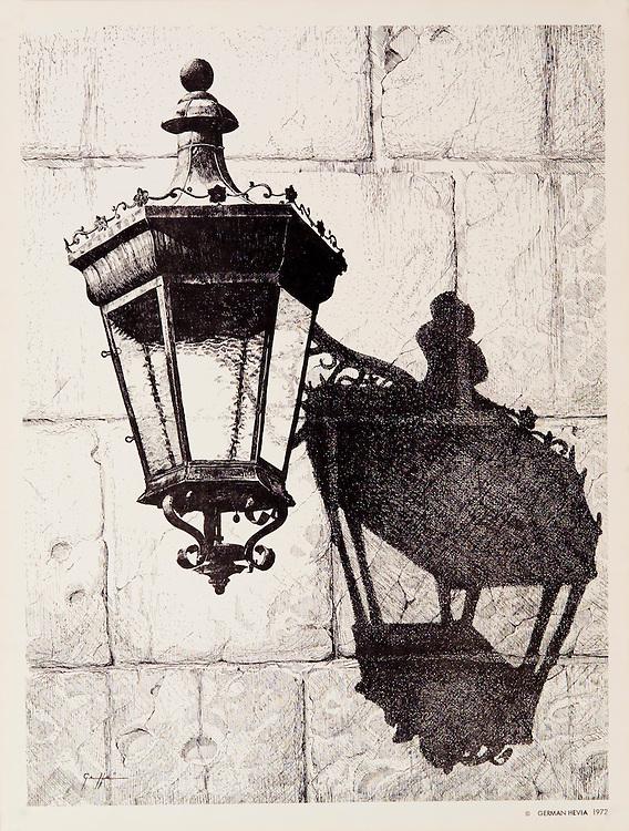 Cat. #8 - Lithographic print of Pen and Ink drawing of a typical lantern found in the ancient cities throughout the Caribbean. This drawing is based on one in Old San Juan, Puerto Rico. Printed on heavy, smooth paper.<br /> Paper size is 9 7/8x13&quot;. Image size is approximately 9x12&quot; <br /> Cat. #8 - Impresi&oacute;n litogr&aacute;fica de un dibujo a plumilla de un farol t&iacute;pico que se encuentran en las antiguas ciudades coloniales en todo el Caribe . Este farol esta ubicado en el Viejo San Juan, Puerto Rico. Impreso en papel grueso y liso.<br /> Tama&ntilde;o del papel es 9 7/8x13&quot;. Tama&ntilde;o de la imagen es aproximadamente 9x12&quot;