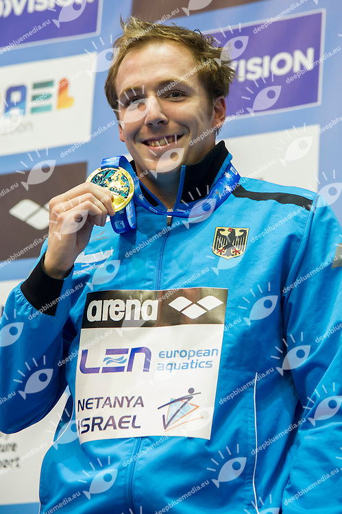 KOCH Marco GER Gold Medal<br /> 100m Breaststroke Men Final<br /> Netanya, Israel, Wingate Institute<br /> LEN European Short Course Swimming Championships Dec. 2 - 6, 2015 Day04 Dec.05<br /> Nuoto Campionati Europei di nuoto in vasca corta<br /> Photo Giorgio Scala/Deepbluemedia/Insidefoto