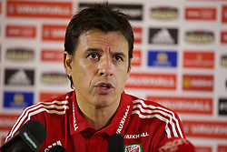 CARDIFF, WALES - Thursday, November 12, 2015: Wales' manager Chris Coleman during a press conference at the Vale of Glamorgan ahead of the International Friendly against the Netherlands. (Pic by David Rawcliffe/Propaganda)