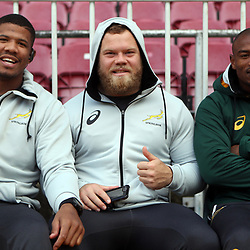 Marvin Orie with Akker van der Merwe and Makazole Mapimpi of South Africa during the South African - Springbok Captain's Run at DHL Newlands Stadium. Cape Town.South Africa. 22,06,2018 23,06,2018 Photo by (Steve Haag JMP)