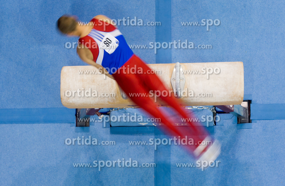 Maxim Petrishko of Kazakhstan competes in the Pommel Horse during Final day 1 of Artistic Gymnastics World Cup Ljubljana, on April 27, 2013, in Hala Tivoli, Ljubljana, Slovenia. (Photo By Vid Ponikvar / Sportida.com)