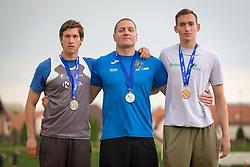 Klemen Bučar, Matija Kranjc and Anže Durjava at medal ceremony during day 2 of Slovenian Athletics Cup 2019, on June 16, 2019 in Celje, Slovenia. Photo by Peter Kastelic / Sportida