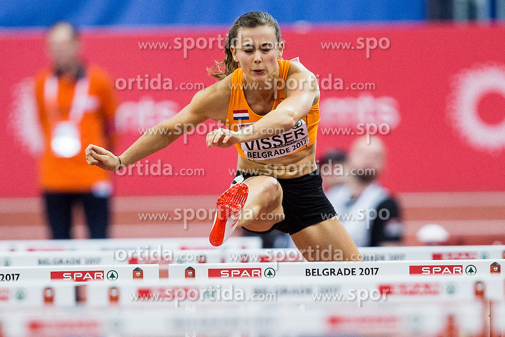 Nadine Visser of Netherlands competes in the Women's 60 metres Hurdles heats on day one of the 2017 European Athletics Indoor Championships at the Kombank Arena on March 3, 2017 in Belgrade, Serbia. Photo by Vid Ponikvar / Sportida