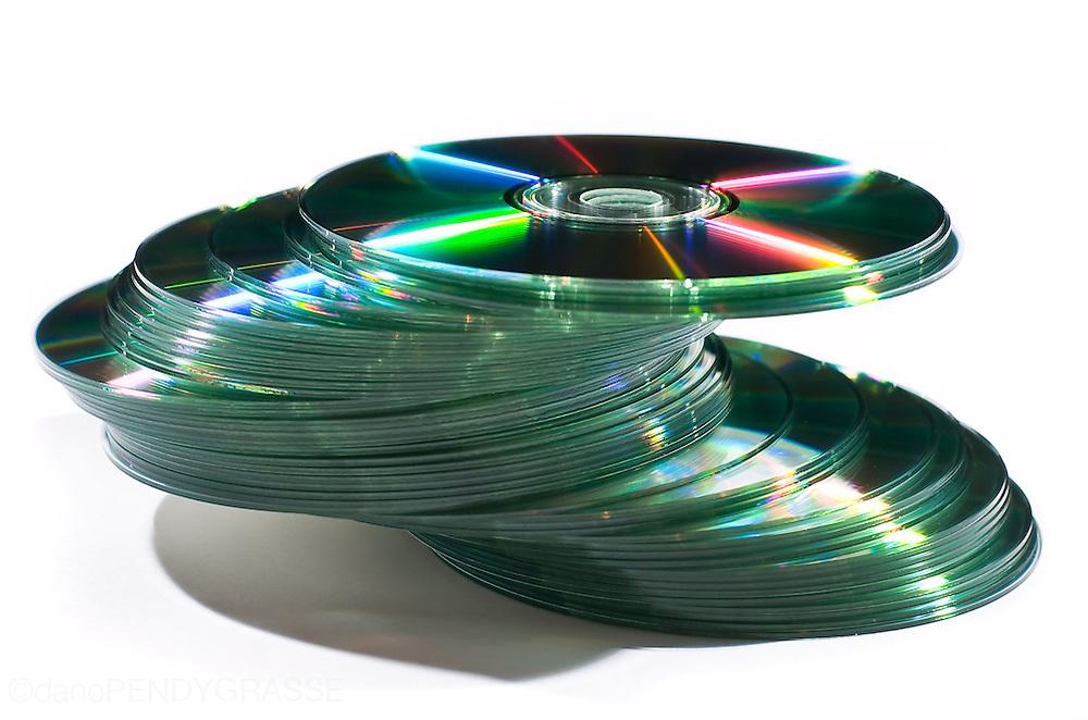 a stack of discs balances precariously