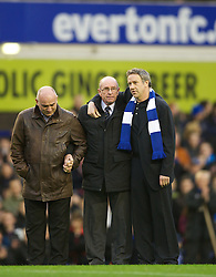 04122011, Goodison Park, Liverpool, ENG, Premier League, FC Everton vs Stoke City, 14 Spieltag, im Bild Roger Speed, the father of former Everton player and Wales manager Gary Speed, who died earlier this week, stands on the pitch with friends as Goodison Park pays tribute before the football match of english Premier League, 14th round between FC Everton and Stoke City at Goodison Park, Liverpool, ENG on 2011/12/04. EXPA Pictures © 2011, PhotoCredit: EXPA/ Sportida/ David Rawcliff..***** ATTENTION - OUT OF ENG, GBR, UK *****