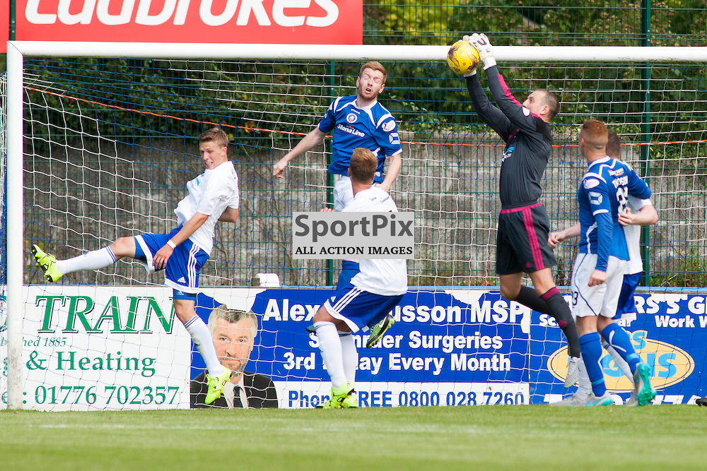 Graeme Smith (Peterhead 1) makes a catch in the Stranraer v Peterhead Ladbrokes SPFL Scottish Division 1 at Stair Park in Stranraer 15 August 2015<br /><br />&copy; Russell Gray Sneddon / StockPix.eu