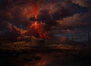 William Marlow,  French artist 1740 - 1813   ' Vesuvius erupting at Night', 1768