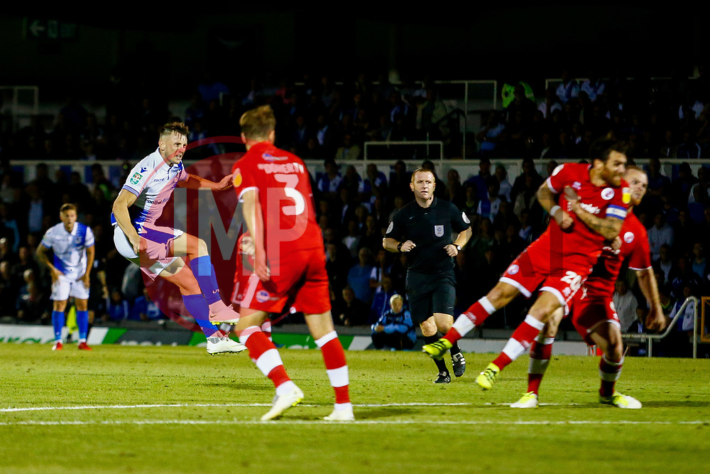 Ollie Clarke of Bristol Rovers scores his sides second goal of the game  - Mandatory by-line: Ryan Hiscott/JMP - 14/08/2018 - FOOTBALL - Memorial Stadium - Bristol, England - Bristol Rovers v Crawley Town - Carabao Cup