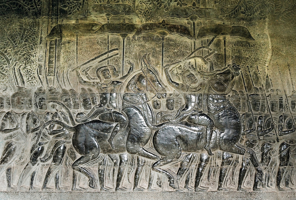 Battle scene from the kurukshetra war on a wall at angkor
