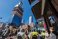 NEW YORK CITY- MARCH 26, 2018 : Manhattan midtown building Construction Workers having a break