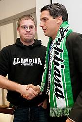 Danijel Komic of Green Dragons and Milenko Acimovic, new sports director of NK Olimpija at press conference of  NK Olimpija Ljubljana, on January 26, 2011 in Hala Tivoli, Ljubljana, Slovenia. (Photo By Vid Ponikvar / Sportida.com)