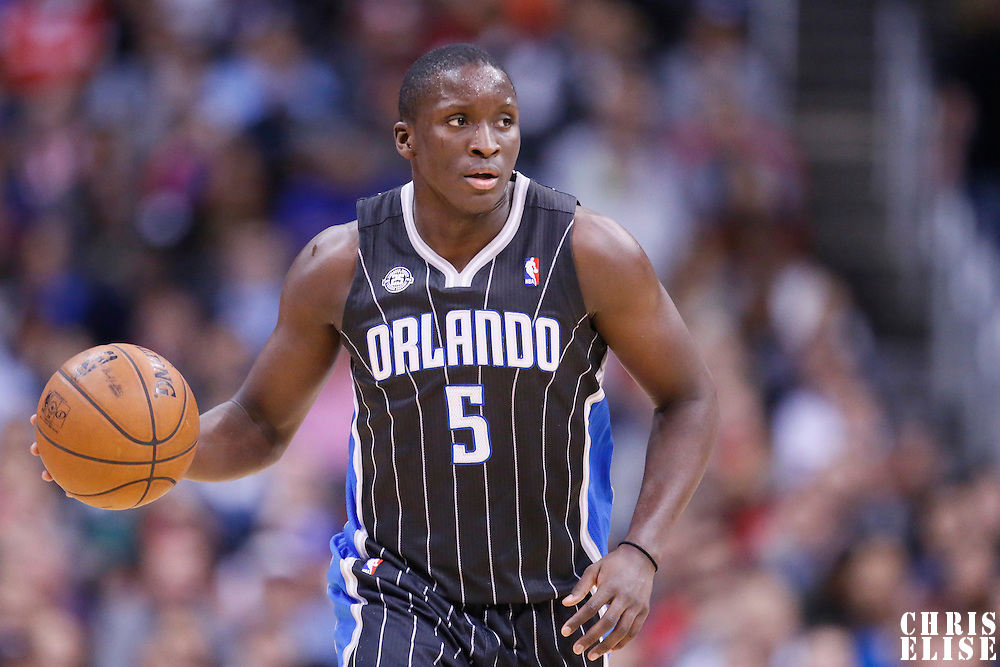 06 January 2014: Orlando Magic shooting guard Victor Oladipo (5) brings the ball upcourt during the Los Angeles Clippers 101-81 victory over the Orlando Magic at the Staples Center, Los Angeles, California, USA.