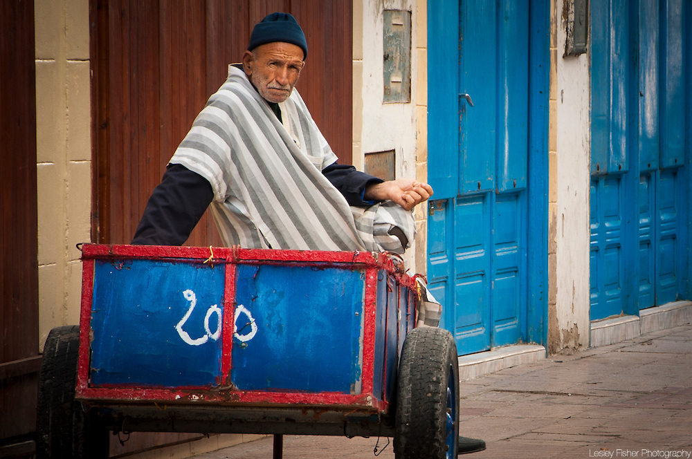 Old fisherman taking a rest, Essaouira, Morocco