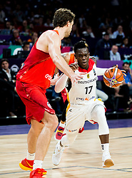 Pau Gasol of Spain vs Dennis Schroder of Germany during basketball match between National Teams of Germany and Spain at Day 13 in Round of 16 of the FIBA EuroBasket 2017 at Sinan Erdem Dome in Istanbul, Turkey on September 12, 2017. Photo by Vid Ponikvar / Sportida