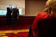 Warsaw, Poland - 2017 March 12: (L) Zbigniew Hajzer and (R) Michal Olszanski Special Olympics Ambassadors speak while Nomination Ceremony of Special Olympics Polish National Team before the Special Olympics World Winter Games Austria  2017 at Marriott Hotel on March 12, 2017 in Warsaw, Poland.<br />