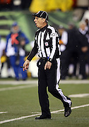 NFL line judge Ron Marinucci (107) calls out during the Cincinnati Bengals NFL AFC Wild Card playoff football game against the Pittsburgh Steelers on Saturday, Jan. 9, 2016 in Cincinnati. The Steelers won the game 18-16. (©Paul Anthony Spinelli)
