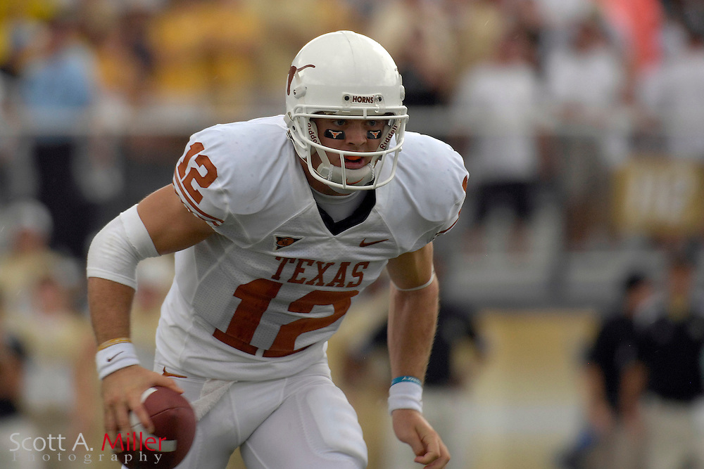 Sept. 15, 2007; Orlando, FL, USA; Texas Longhorns quarterback (12) Colt McCoy during his team's game against the Central Florida Knights during the first half at Bright House Stadium. Texas won the game 35-32. ..©2007 Scott A. Miller