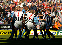 Photo. Glyn Thomas. Digitalsport<br /> West Bromwich Albion v Fulham. <br /> Barclays Premiership. 18/09/2004.<br /> Fulham's Andy Cole (third from R) gets involved in a scuffle after West Brom's Neil Clement was shown the red card. Cole was also then shown the red card.