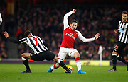 Arsenal's Hector Bellerin and Newcastle United's Jacob Murphy during the Premier League match between Arsenal and Newcastle United at the Emirates Stadium, London, England on 16 December 2017. Photo by John Marsh.