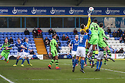 Macclesfield's goalkeeper Scott Flinders punches the ball clear during the FA Trophy match between Macclesfield Town and Forest Green Rovers at Moss Rose, Macclesfield, United Kingdom on 4 February 2017. Photo by Shane Healey.