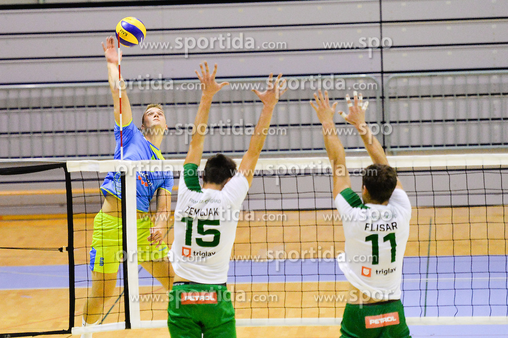 Davida Kumer of Slovenia vs. Jakob Rojnik and Gorazd Flisar of Panvita Pomgrad during the Friendly Volleyball match between OK Panvita Pomgrad and U21 Nationalteam of Slovenia on August 28, 2015 in Murska Sobota, Slovenia. Photo by Mario Horvat / Sportida