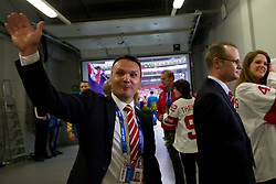 20.02.2014, Bolshoy Ice Dome, Adler, RUS, Sochi, 2014, Eishockey Damen, Medaillenfeier, im Bild Trainer Rene Kammerer (SUI) an der Medaillenfeier // during Womens Icehockey Medal Ceremony of the Olympic Winter Games Sochi 2014 at the Bolshoy Ice Dome in Adler, Russia on 2014/02/20. EXPA Pictures © 2014, PhotoCredit: EXPA/ Freshfocus/ Urs Lindt<br /> <br /> *****ATTENTION - for AUT, SLO, CRO, SRB, BIH, MAZ only*****