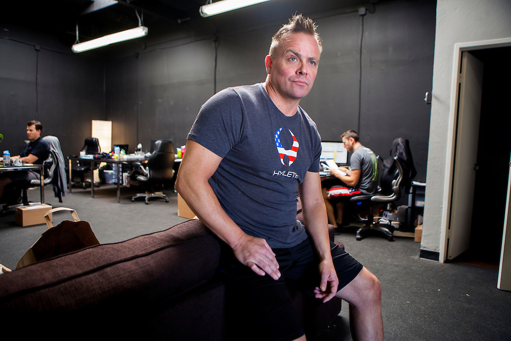 Ron Wilson, Chief Empowerment Officer for active sports wear company Hylete, poses for a portrait at the company's headquarters in Solana Beach, California, U.S. on Wednesday April 30, 2014. CREDIT: Sam Hodgson for The Wall Street Journal<br /> SBJOBS