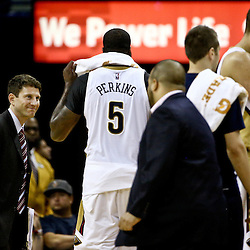 Mar 18, 2016; New Orleans, LA, USA; New Orleans Pelicans center Kendrick Perkins (5) is ejected following a flagrant two foull during the second half of a game against the Portland Trail Blazers at the Smoothie King Center. The Trail Blazers defeated the Pelicans 117-112.  Mandatory Credit: Derick E. Hingle-USA TODAY Sports