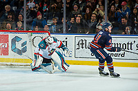 KELOWNA, CANADA - DECEMBER 27: Garrett Pilon #41 of the Kamloops Blazers reacts to a shoot out save by James Porter #1 of the Kelowna Rockets on December 27, 2017 at Prospera Place in Kelowna, British Columbia, Canada.  (Photo by Marissa Baecker/Shoot the Breeze)  *** Local Caption ***