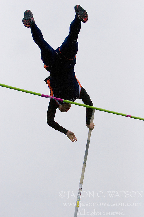 Virginia Cavaliers Jeff McClurg clears the pole vault en route to a second place finish.  The University of Virginia Track and Field team hosted the 2007 Lou Onesty Invitational Track Meet at the University of Virginia in Charlottesville, VA on April 14, 2007.